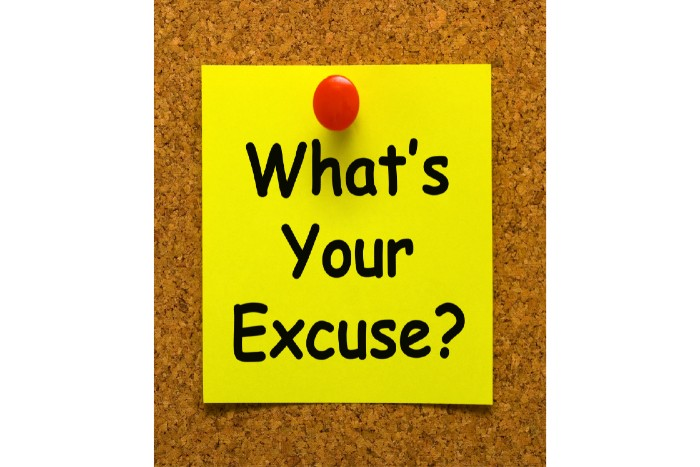 start studying now: corkboard with a yellow note that says 'what's your excuse'?